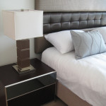 apartment furniture lamp, bedside table, bed