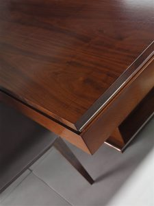 Mon dining walnut chromed accent detail
